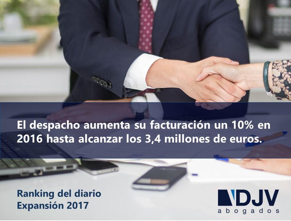 El Diario Expansión Recoge El Crecimiento De La Facturación De DJV Abogados En 2016