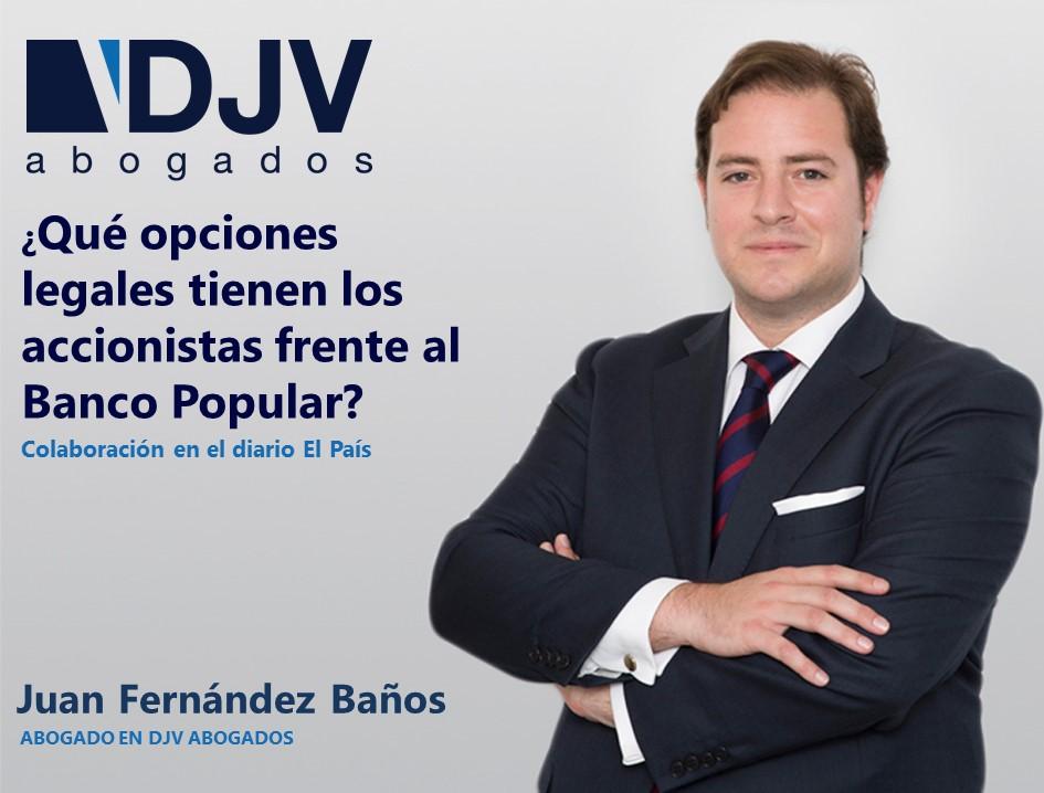 Juan F. Baños Da Su Opinión En El Diario El País Sobre El Caso Del Banco Popular