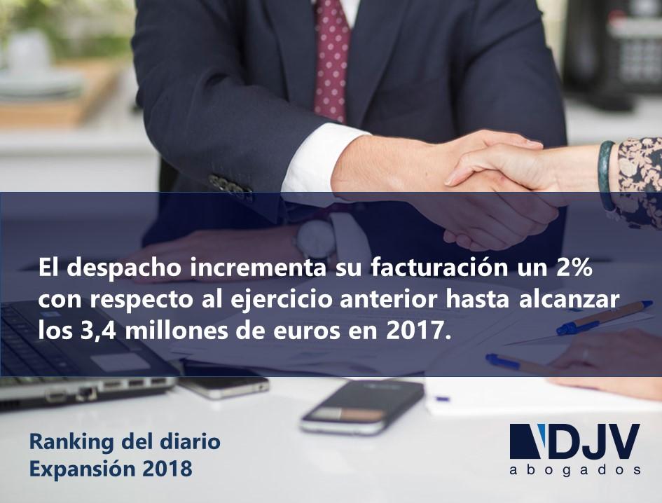 El Diario Expansión Recoge El Crecimiento De La Facturación De DJV Abogados En 2017
