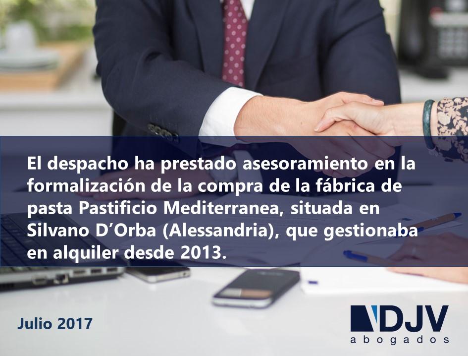 DJV Abogados Asesora A Cerealto En La Adquisición De Su Planta De Pasta En Italia