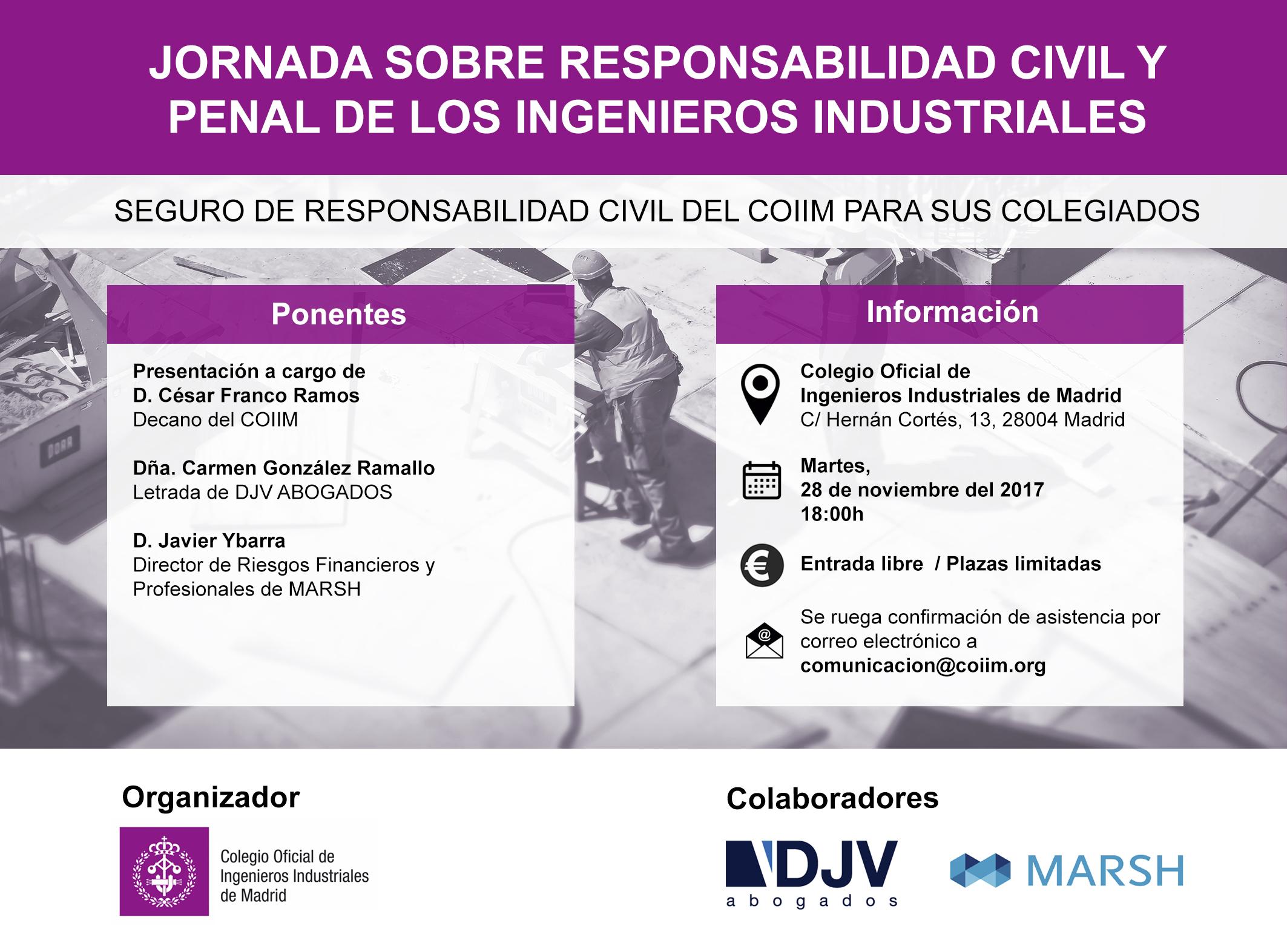 DJV Abogados Participa En Una Jornada Sobre Responsabilidad Civil Y Penal De Los Ingenieros Industriales Organizado Por El COIIM